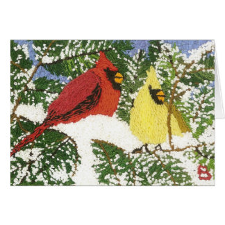 Cardinals in the Snow Card