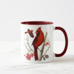 """&quot;Cardinals in the Wild&quot; Bird Coffee Mug<br><div class=""""desc"""">&quot;Cardinals in the Wild&quot; Coffee Mug captures the majesty of a perched Cardinal on the front as well as this wild bird&#39;s grace in flight in full size and color on the back side of the mug. Accented with a maroon rim and handle, this beautiful mug is sure to brighten...</div>"""