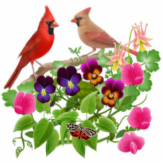 Cardinals in Wild Flowers Ornament