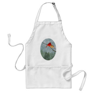 cardinals in winter adult apron