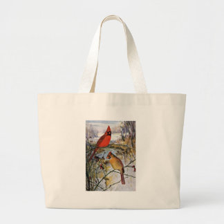 Cardinals in Winter Canvas Bags