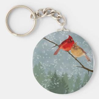 cardinals in winter keychain