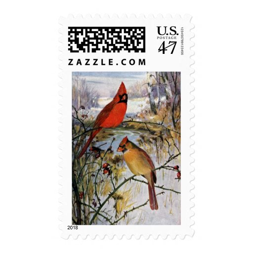 Cardinals in Winter Postage