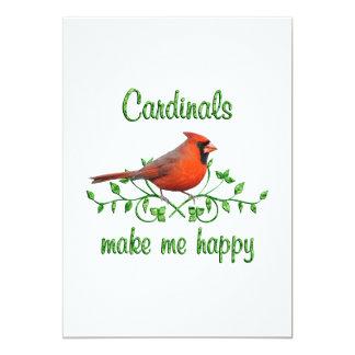 Cardinals Make Me Happy 5x7 Paper Invitation Card
