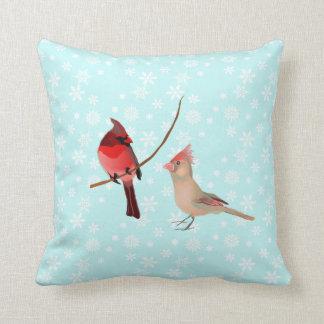 Cardinals Male & Female Birds - Snowflake Pillow