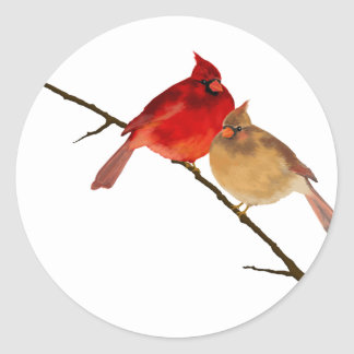 cardinals on a branch classic round sticker