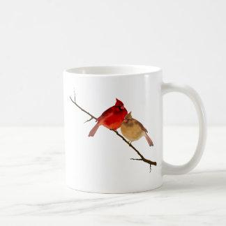 cardinals on a branch classic white coffee mug