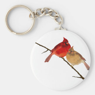 cardinals on a branch keychain