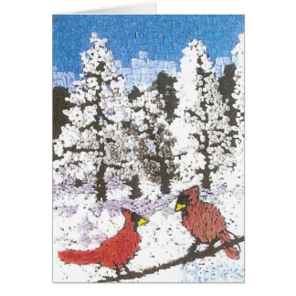 Cardinals on a Wire Card