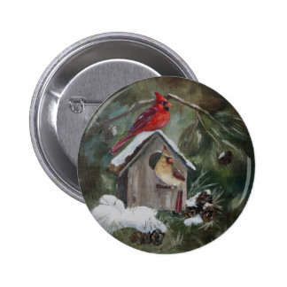 Cardinals On Snowy Birdhouse 2 Inch Round Button