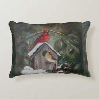 Cardinals on Snowy Birdhouse Accent Pillow