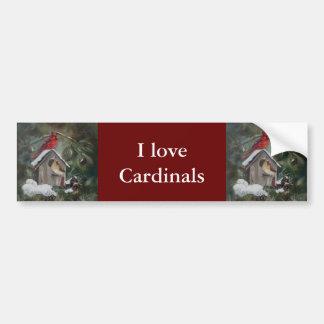 Cardinals On Snowy Birdhouse Car Bumper Sticker