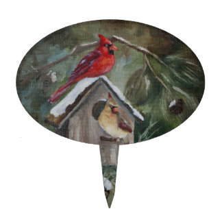 Cardinals On Snowy Birdhouse Cake Topper