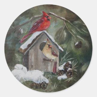 Cardinals On Snowy Birdhouse Classic Round Sticker