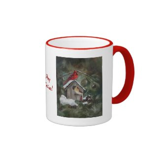 Cardinals On Snowy Birdhouse Coffee Mug