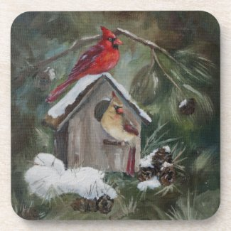 Cardinals On Snowy Birdhouse Drink Coaster