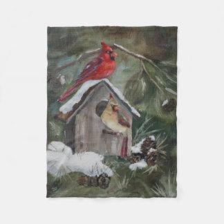 Cardinals on Snowy Birdhouse Fleece Blanket