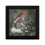 Cardinals On Snowy Birdhouse Jewelry Boxes