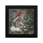 Cardinals On Snowy Birdhouse Keepsake Box