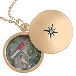 Cardinals on Snowy Birdhouse Locket