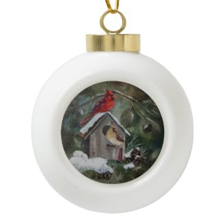 Cardinals on Snowy Birdhouse Ornaments