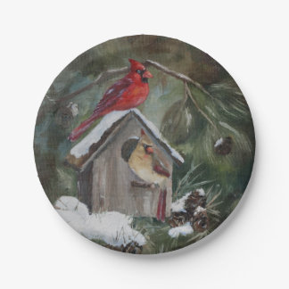 Cardinals on Snowy Birdhouse Paper Plate
