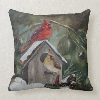 Cardinals on Snowy Birdhouse Pillows