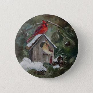 Cardinals On Snowy Birdhouse Pinback Button