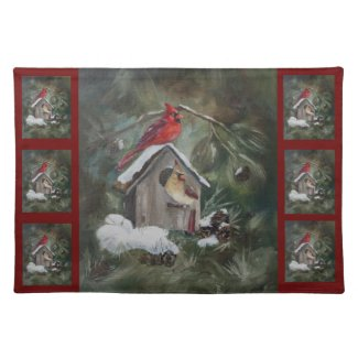 Cardinals on Snowy Birdhouse Place Mats
