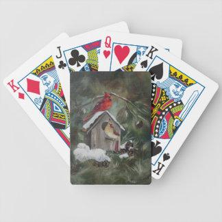 Cardinals On Snowy Birdhouse Bicycle Card Deck