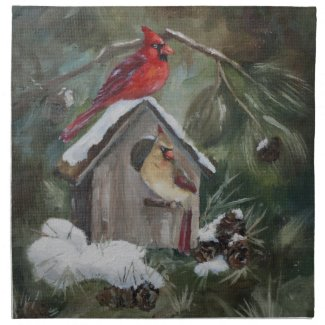 Cardinals On Snowy Birdhouse Printed Napkin