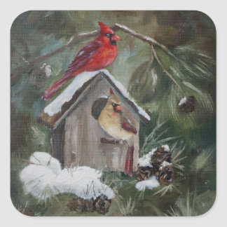 Cardinals On Snowy Birdhouse Square Sticker