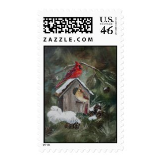 Cardinals on Snowy Birdhouse Stamps