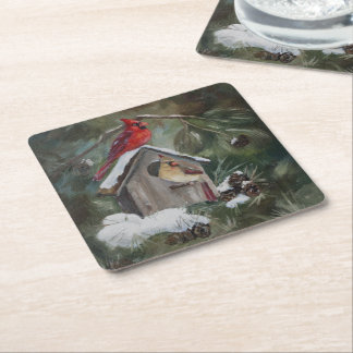 Cardinals on Snowy Birdhouse Square Paper Coaster