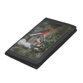 Cardinals on Snowy Birdhouse Trifold Wallets