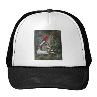 Cardinals On Snowy Birdhouse Trucker Hat