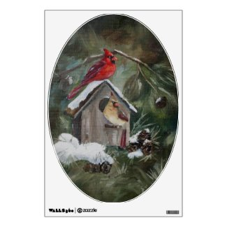 Cardinals on Snowy Birdhouse Wall Skins