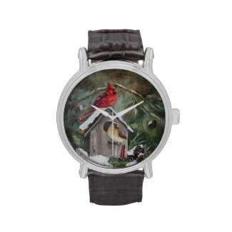 Cardinals on Snowy Birdhouse Wrist Watches