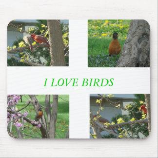 Cardinals & Robins, I LOVE BIRDS Mouse Pad