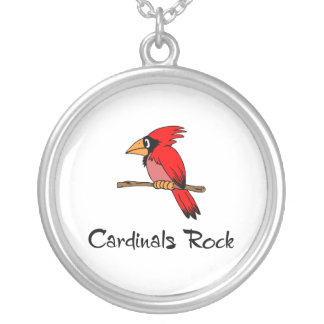 Cardinals Rock Round Pendant Necklace