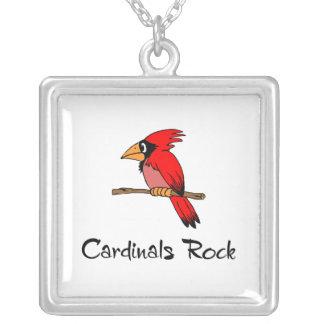 Cardinals Rock Square Pendant Necklace