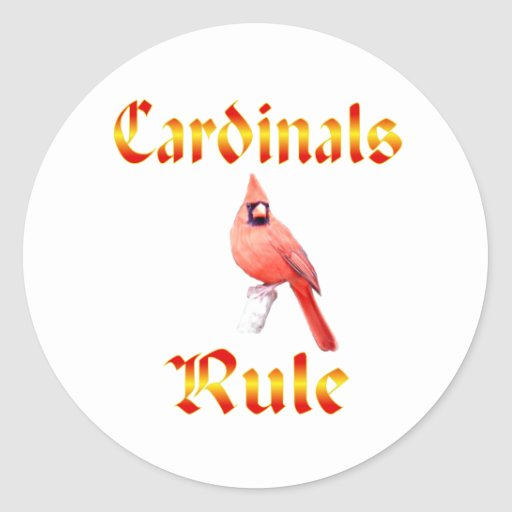 Cardinals Rule Round Stickers