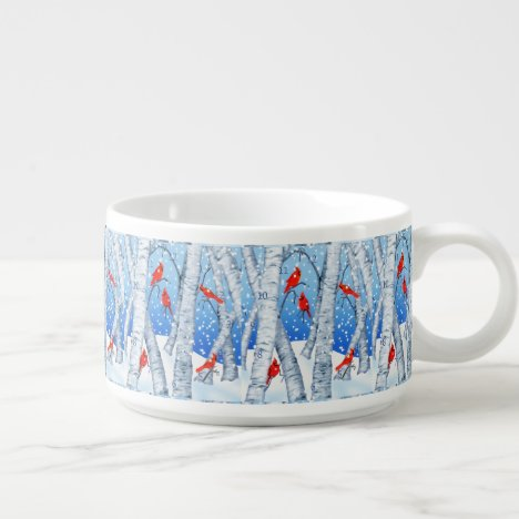 Cardinals Sitting in a Birchwood Winter Forest Bowl