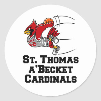 Cardinals with athletic font classic round sticker