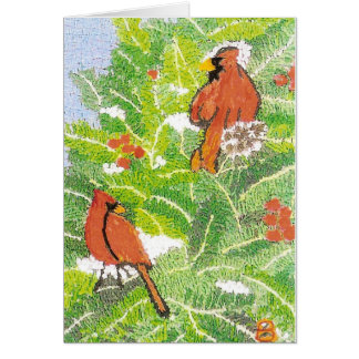 Cardinals with Berries Card