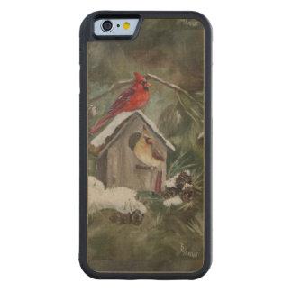 Cardinasl on a Snowy Birdhouse Carved Maple iPhone 6 Bumper Case