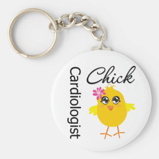 Cardiologist Chick Basic Round Button Keychain