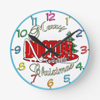 Cardiologist  DOCTOR MERRY CHRISTMAS Round Clock