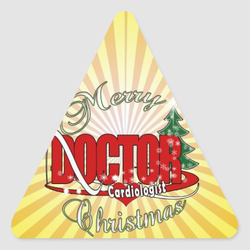 Cardiologist  DOCTOR MERRY CHRISTMAS Triangle Sticker