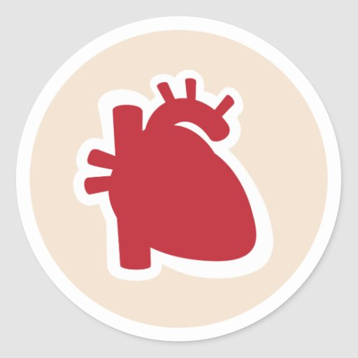 Cardiologist or cardiology red human heart logo sticker